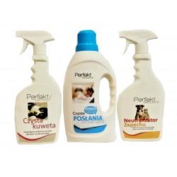 Zestaw do utrzymania higieny w otoczeniu zwierząt.